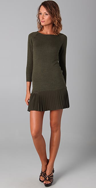 Shoshanna Pleated Sweater Dress
