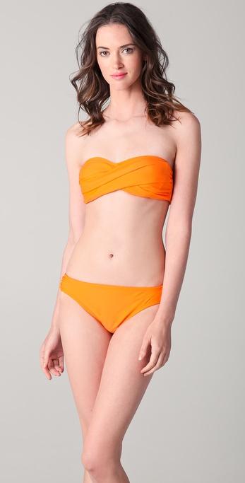 Shoshanna Solid Twist Bandeau Bikini Top