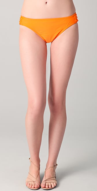 Shoshanna Solid Ruched Bikini Briefs