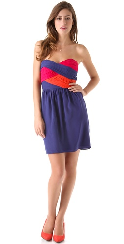 Shoshanna Colorblock Zoe Strapless Dress