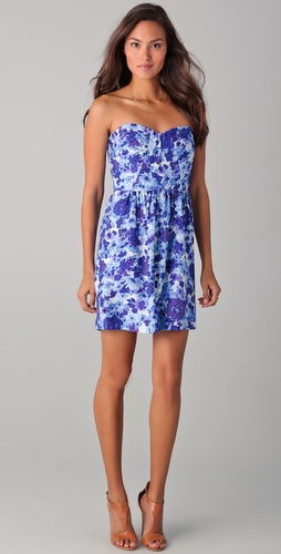 Shoshanna Julieanne Gaia Print Strapless Dress