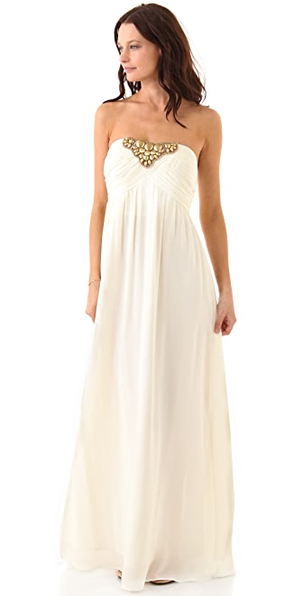 Shoshanna Beaded Tori Strapless Gown