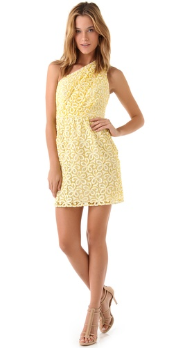 Shoshanna Lace Alexis One Shoulder Dress