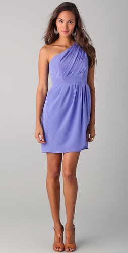 Shoshanna Draped One Shoulder Dress