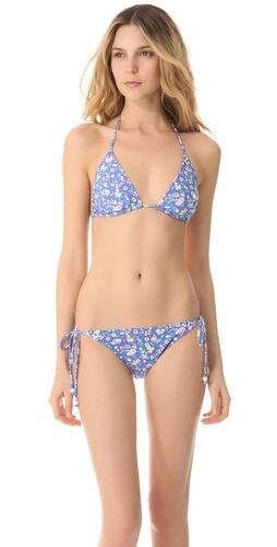 Shoshanna Charlotte Ronson for Shoshanna Vintage Floral Eyelet Triangle Bikini Top
