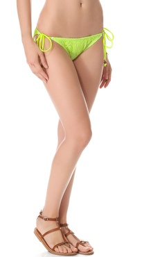 Shoshanna Neon Yellow Crochet String Bikini Bottoms