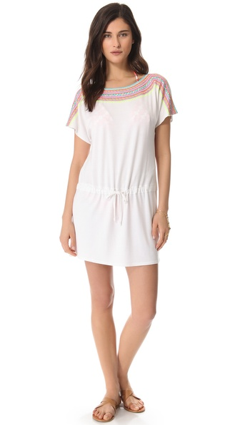 Shoshanna Neon Embroidered Jersey Cover Up