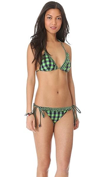 Shoshanna Green Gingham Ruffle Bikini Top