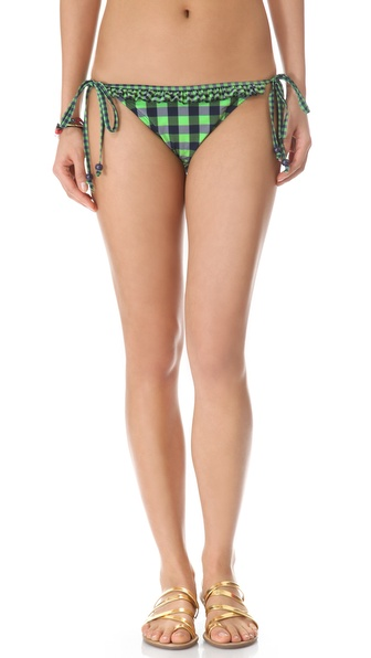Shoshanna Green Gingham Ruffle Bikini Bottoms