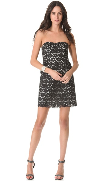 Shoshanna Nicolette Lace Strapless Dress