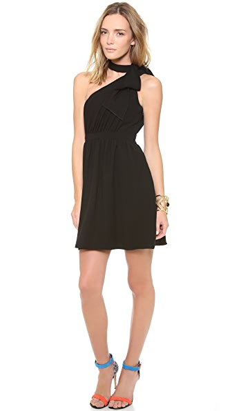 Shoshanna Jillian One Shoulder Bow Dress