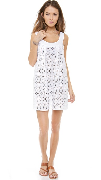Shop Shoshanna online and buy Shoshanna Wilson Lake Eyelet Cover Up White - A dainty Shoshanna cover up dress in airy eyelet. Wide shoulder straps. Notched hem. Unlined. Fabric: Embroidered weave. 100% cotton. Wash cold. Imported, China. MEASUREMENTS Length: 32in / 81.5cm, from shoulder. Available sizes: S