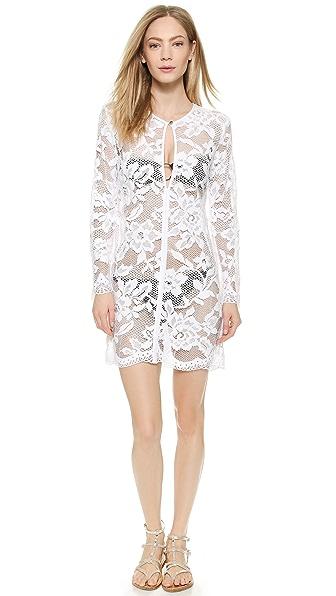 Shoshanna Shoshanna White Lace Keyhole Tunic