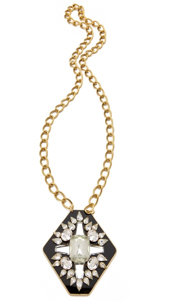 Sandy Hyun Long Crystal Pendant Necklace