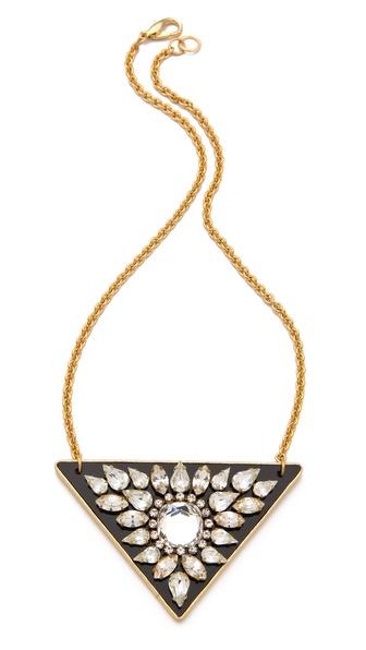 Sandy Hyun Crystal Triangle Pendant Necklace