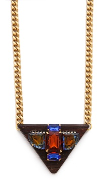 Sandy Hyun Jeweled Triangle Pendant Necklace