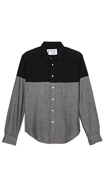 Sidian, Ersatz & Vanes Chambray Colorblock Shirt