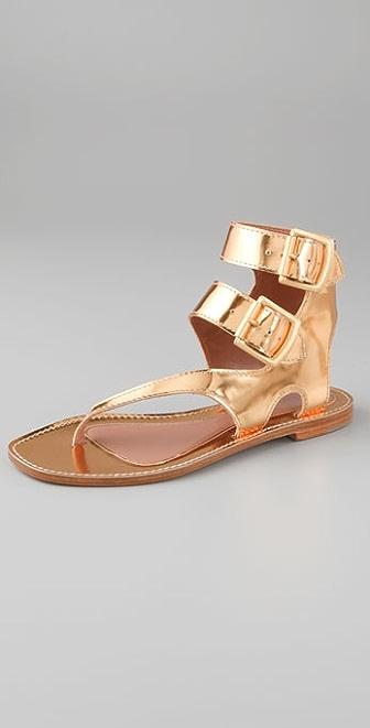 Sigerson Morrison Asymmetrical Thong Buckle Sandals