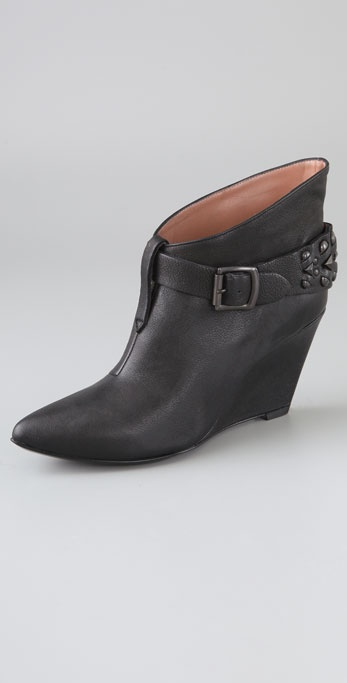 Sigerson Morrison Peaked Wedge Booties with Ankle Strap