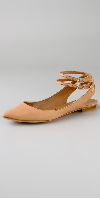 Sigerson Morrison Pointy Flats with Double Ankle Straps