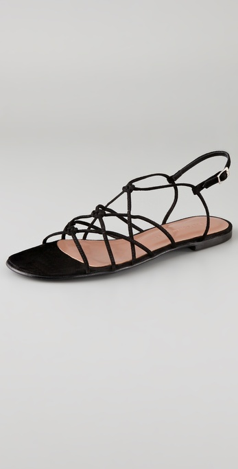 Sigerson Morrison Knotted Crisscross Flat Sandals