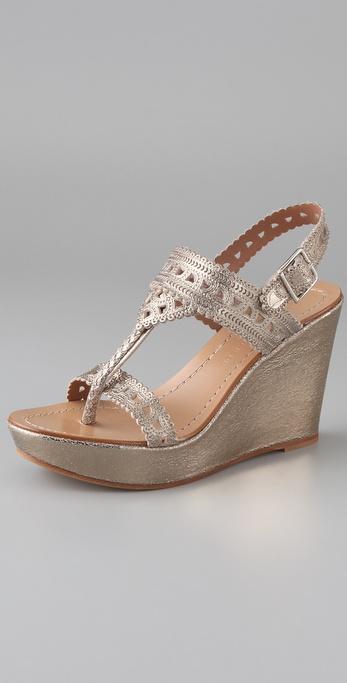 Sigerson Morrison Mosaic T Strap Wedge Sandals
