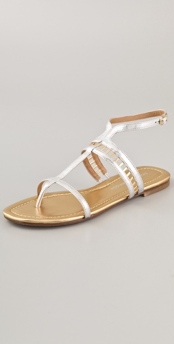 Sigerson Morrison Kate Metallic Lattice Flat Sandals