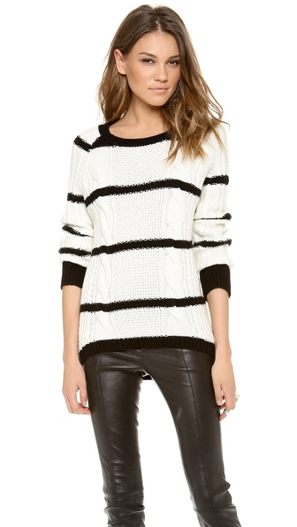 SHAE Striped Cable Cashmere Sweater