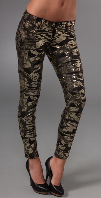 Siwy Sequin Hannah Slim Crop Pants