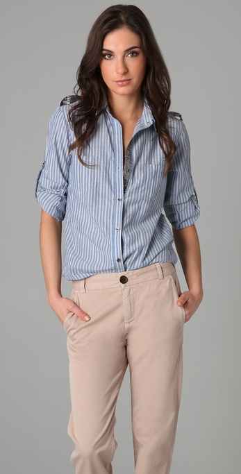 Son of John Simone Striped Button Down Blouse