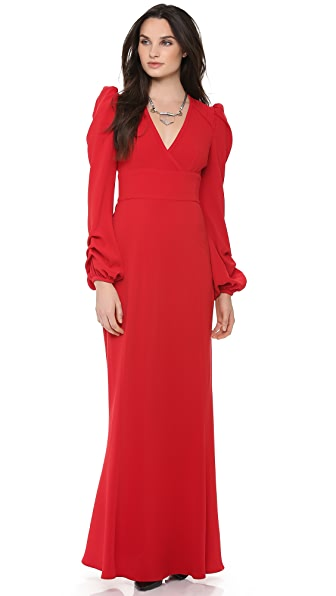 Skaist Taylor Pleated Long Sleeve Gown