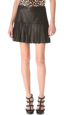 Skaist Taylor Pleated Leather Skirt