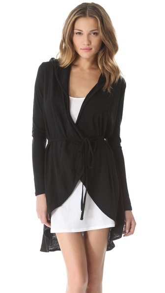Skin Hooded Wrap Cardigan