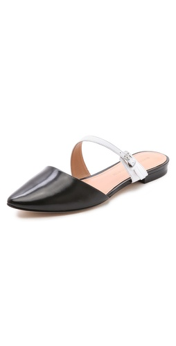 Kupi Sigerson Morrison cipele online i raspordaja za kupiti A sleek, asymmetrical strap wraps the instep on pointed-toe Sigerson Morrison flats, cut from colorblocked leather. Buckle closure. Leather sole.  Leather: Calfskin. Imported, China. This item cannot be gift-boxed. - Black/White
