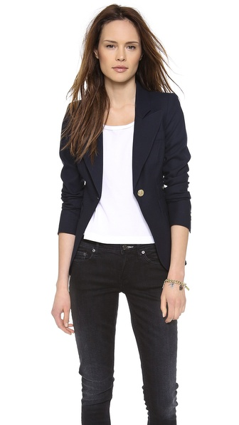 Smythe One Button Blazer - Navy at Shopbop / East Dane