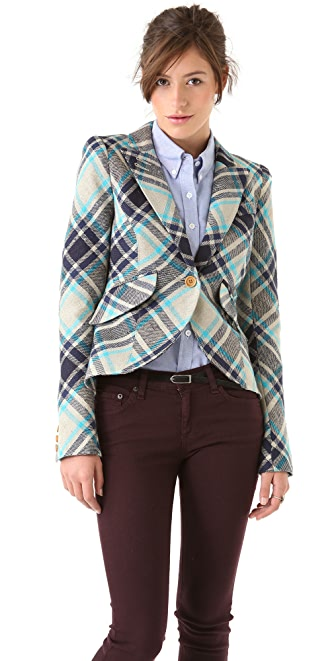 SMYTHE Plaid One Button Blazer