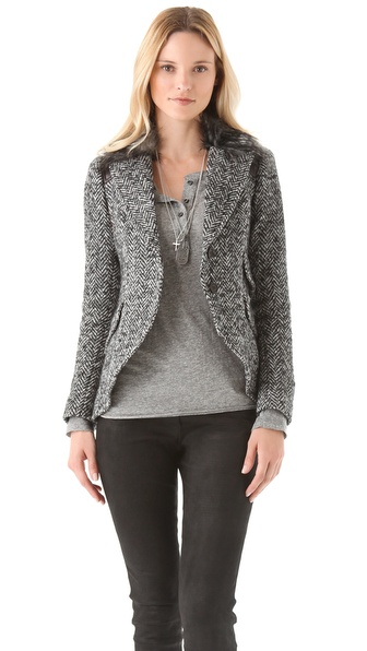 SMYTHE Equestrian Blazer with Faux Fur Collar