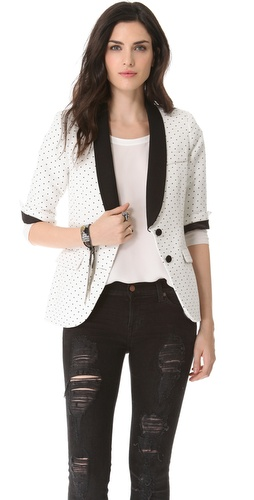 Shop SMYTHE Pin Dot Blazer - SMYTHE online - Apparel,Womens,Jackets,Blazer, at Lilychic Australian Clothes Online Store