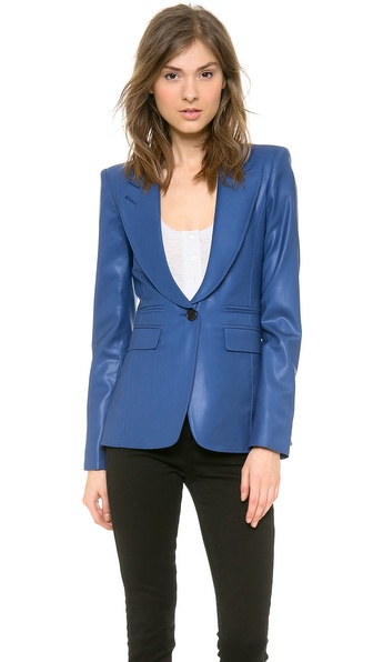 Smythe Peaked Lapel Blazer - Petrol Shine at Shopbop / East Dane