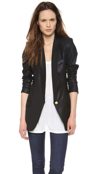 Smythe Long Shawl Blazer - Black Shine at Shopbop