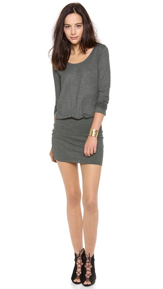 Shop Soft Joie online and buy Soft Joie Brenner Dress - Dark Heather Grey - A ribbed knit skirt provides a fitted contrast to the blouson bodice of a jersey Soft Joie dress. A deep scoop neckline and long sleeves complete the profile. Double layered skirt. Fabric: Heathered jersey. 50% polyester/38% cotton/12% viscose. Dry clean. Imported, China. MEASUREMENTS Length: 35in / 89cm, from shoulder. Available sizes: L