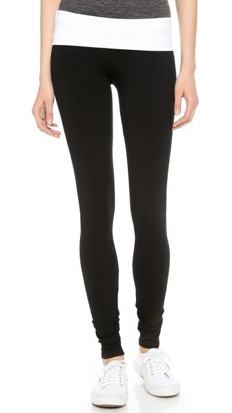 Solow Jersey Long Fold Over Leggings - Black/White