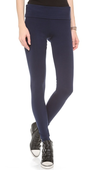 Solow Jersey Long Fold Over Leggings - Navy