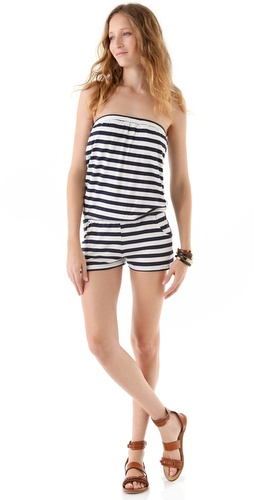 SOLOW Strapless Romper with Pockets