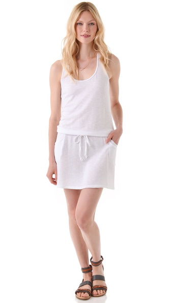 SOLOW French Terry Tank Dress with Mesh