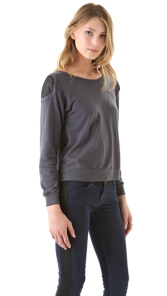 SOLOW Long Sleeve Pullover with Shoulder Patches