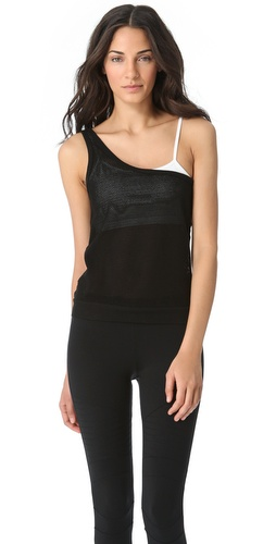 SOLOW One Shoulder Mesh Tank