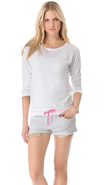 SOLOW Contrast Drawstring Pullover