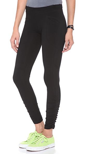 SOLOW Shirred Leggings with Patch Pockets