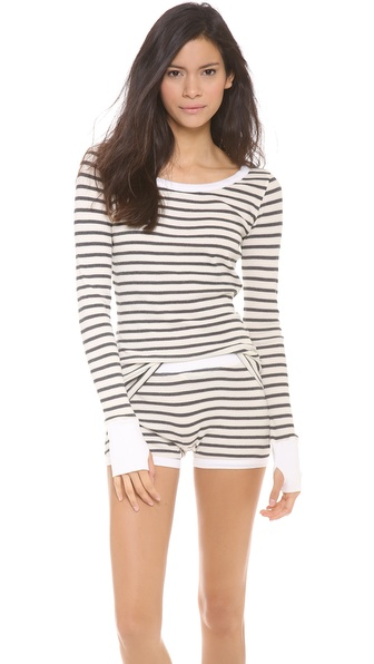 SOLOW Crew Neck Top & Shorts PJ Set